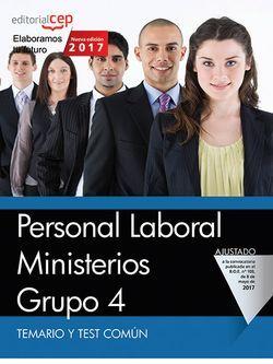 Personal Laboral Ministerios. Grupo 4. Temario y Test Común