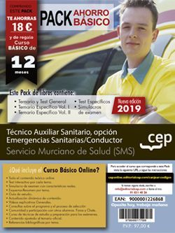 Pack de libros y Acceso gratuito. Técnico Auxiliar Sanitario, opción Emergencias Sanitarias/Conductor. Servicio Murciano de Salud