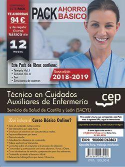 PACK AHORRO BASICO. Técnico en Cuidados Auxiliares de Enfermería. Servicio de Salud de Castilla y León (SACYL).  (Incluye Temarios I, II, Test, Simulacros de Examen y Curso Básico on Line)