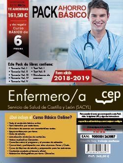 PACK AHORRO BASICO. Enfermero. Servicio de Salud de Castilla y León (SACYL).  Incluye Temarios I, II, III, IV y V,  Test Vol. I y II, Simulacros de Examen y Curso Básico on Line.