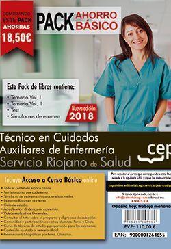 PACK AHORRO BASICO. Técnico en Cuidados Auxiliares de Enfermería. Servicio Riojano de Salud (SERIS).  Incluye Temarios I, II, Test, Simulacros de Examen y Curso Básico on Line.