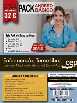 PACK AHORRO BÁSICO.  Enfermero/a. Turno libre. Servicio Madrileño de Salud (SERMAS). (Incluye Temarios Vol. I, II, III y IV, Test y Simulacros + Curso Básico Online)