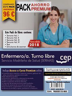 PACK AHORRO PREMIUM. Enfermero/a. Turno libre. Servicio Madrileño de Salud (SERMAS). (Incluye Temarios Vol. I, II, III y IV, Test y Simulacros + Curso Premium 9 meses)