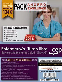 PACK AHORRO EXCELLENCE. Enfermero/a. Turno libre. Servicio Madrileño de Salud (SERMAS). (Incluye Temarios Vol. I, II, III y IV, Test y Simulacros + Curso Excellence 9 meses)