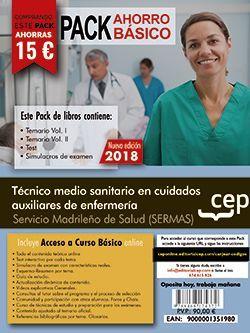 PACK AHORRO BÁSICO. Técnico medio sanitario en cuidados auxiliares de enfermería. Servicio Madrileño de Salud (SERMAS). (Incluye Temarios Vol. I, II, Test y Simulacros + Curso Básico 12 Meses)