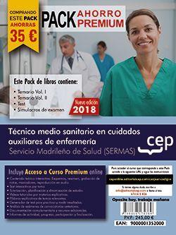 PACK AHORRO PREMIUM. Técnico medio sanitario en cuidados auxiliares de enfermería. Servicio Madrileño de Salud (SERMAS). (Incluye Temarios Vol. I, II, Test y Simulacros + Curso Premium 9 meses)