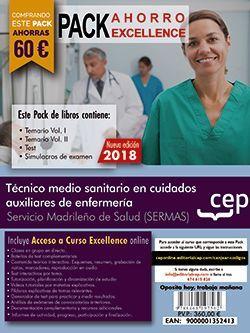PACK AHORRO EXCELLENCE. Técnico medio sanitario en cuidados auxiliares de enfermería. Servicio Madrileño de Salud (SERMAS). (Incluye Temarios Vol. I, II, Test y Simulacros + Curso Excellence 9 meses)
