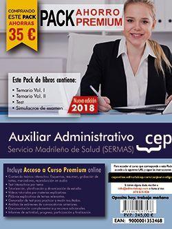 PACK AHORRO PREMIUM. Auxiliar Administrativo. Servicio Madrileño de Salud (SERMAS). (Incluye Temarios I, II, Test, Simulacros + Curso Premium 9 Meses)