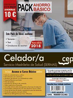 PACK AHORRO BÁSICO. Celador/a. Servicio Madrileño de Salud (SERMAS).  (Incluye Temario, Test y Simulacros + Curso Básico 12 Meses)