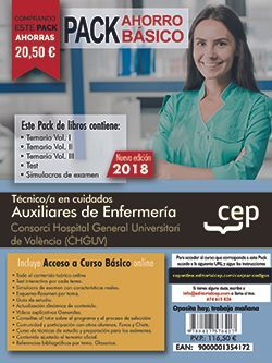 PACK AHORRO BÁSICO. Técnico/a en cuidados auxiliares de enfermería.  Consorci Hospital General Universitari de València (CHGUV).  (Incluye Temarios I, II, III, Test y Simulacros + Curso Básico 1 año)