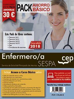 PACK AHORRO BASICO.  Enfermero/a del Servicio de Salud del Principado de Asturias. SESPA. (Incluye Temarios Vol. I, II, III y IV, Test y Simulacros + Curso Básico 12 meses)