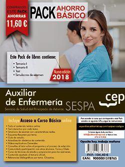 PACK AHORRO BASICO. Auxiliar de Enfermería del Servicio de Salud del Principado de Asturias. SESPA. (Incluye Temarios Vol. I, II, Test y Simulacros + Curso Básico 12 meses)