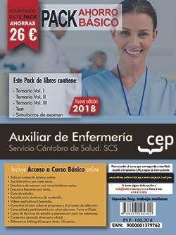 PACK AHORRO BASICO.  Auxiliar de Enfermería. Servicio Cántabro de Salud. SCS. (Incluye Temarios Vol. I, II, III, Test y Simulacros + Curso Básico Online)