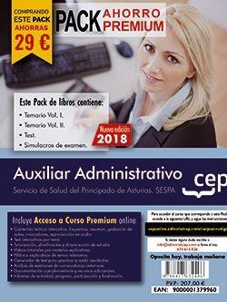 PACK AHORRO PREMIUM. Auxiliar Administrativo del Servicio de Salud del Principado de Asturias (SESPA). (Incluye Temarios Vol. I, II, Test y Simulacros + Curso Premium 6 meses)