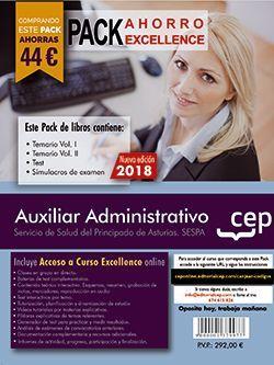 PACK AHORRO EXCELLENCE. Auxiliar Administrativo del Servicio de Salud del Principado de Asturias (SESPA). (Incluye Temarios Vol. I, II, Test y Simulacros + Curso Excellence 6 meses)