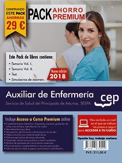 PACK AHORRO PREMIUM. Auxiliar de Enfermería del Servicio de Salud del Principado de Asturias. SESPA. (Incluye Temarios Vol. I, II, Test y Simulacros + Curso Premium 6 meses)