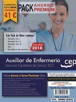 PACK AHORRO PREMIUM.  Auxiliar de Enfermería. Servicio Cántabro de Salud. SCS. (Incluye Temarios Vol. I, II, III, Test y Simulacros + Curso Premium Online 8 meses)