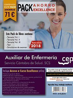 PACK AHORRO EXCELLENCE. Auxiliar de Enfermería. Servicio Cántabro de Salud. SCS. (Incluye Temarios Vol. I, II, III, Test y Simulacros + Curso Excellence Online 8 meses)