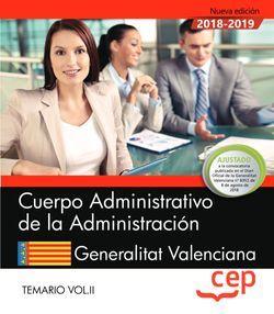 Cuerpo Administrativo de la Administración. Generalitat Valenciana. Temario Vol.II