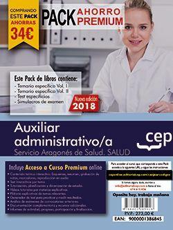 PACK AHORRO PREMIUM. Auxiliar administrativo/a del Servicio Aragonés de Salud. (Incluye Temarios Vol. I y II, Test , Simulacros + Curso Premium On line 9 meses)