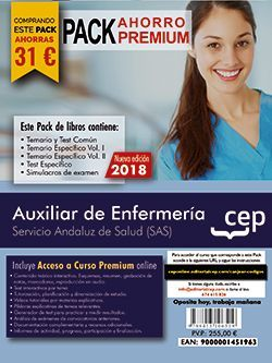 PACK AHORRO PREMIUM. Auxiliar de Enfermería. Servicio Andaluz de Salud (SAS). (Incluye Temario y Test Común, Temario Específico y Test, Simulacros de Examen y Curso Premium on Line 8 meses)