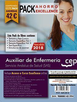PACK AHORRO EXCELLENCE. Auxiliar de Enfermería. Servicio Andaluz de Salud (SAS). (Incluye Temario y Test Común, Temario Específico y Test, Simulacros de Examen y Curso Excellence on Line 8 meses)