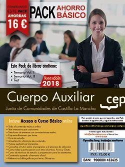PACK AHORRO BASICO.  Cuerpo Auxiliar. Junta de Comunidades de Castilla-La Mancha. (Incluye Temarios Vol. I y II y Test  + Curso Básico Online)
