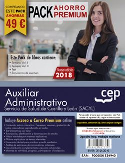 PACK AHORRO PREMIUM. Auxiliar Administrativo. Servicio de Salud de Castilla y León (SACYL). (Incluye Temarios I, II, Test, Simulacros de Examen y Curso Premium on Line 6 Meses)