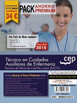 PACK AHORRO PREMIUM. Técnico en Cuidados Auxiliares de Enfermería. Servicio de Salud de Castilla y León (SACYL). (Incluye Temarios I, II, Test, Simulacros de Examen y Curso Premium 6 Meses on Line)