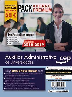 PACK AHORRO PREMIUM. Auxiliares Administrativos de Universidades. (Incluye Temarios Vol. I, II y III, Test + Curso Premium online 6 Meses)