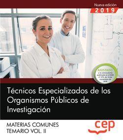 Técnicos Especializados de los Organismos Públicos de Investigación. Materias comunes. Temario. Vol.II