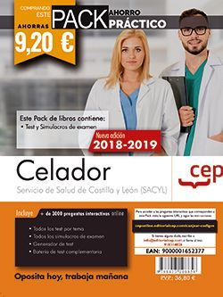 PACK AHORRO PRÁCTICO. Celador. Servicio de Salud de Castilla y León (SACYL). (Contiene Test y Simulacros de examen y Acceso a 3000 preguntas interactivas en CEP Online.)
