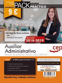 PACK AHORRO PRÁCTICO. Auxiliar Administrativo. Servicio de Salud de Castilla y León (SACYL). (Contiene Test y Simulacros de examen y Acceso a 3000 preguntas interactivas en CEP Online.)