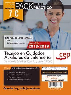 PACK AHORRO PRÁCTICO. Técnico en Cuidados Auxiliares de Enfermería. Servicio de Salud de Castilla y León (SACYL). (Contiene Test y Simulacros de examen y Acceso a 3000 preguntas interactivas en CEP Online.)