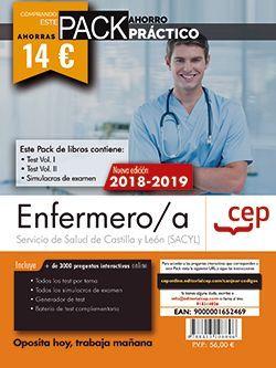 PACK AHORRO PRÁCTICO. Enfermero/a. Servicio de Salud de Castilla y León (SACYL). (Contiene Test Vol. I y II y Simulacros de examen y Acceso a 3000 preguntas interactivas en CEP Online.)
