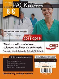 PACK AHORRO PRÁCTICO. Técnico/a en Cuidados Auxiliares de Enfermería. Servicio Madrileño de Salud (SERMAS). (Contiene Test y Simulacros de examen y Acceso a 3000 preguntas interactivas en CEP Online.)