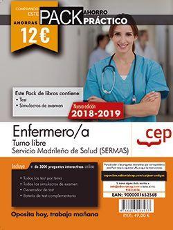 PACK AHORRO PRÁCTICO. Enfermero/a. Turno libre. Servicio Madrileño de Salud (SERMAS). (Contiene Test y Simulacros de examen y Acceso a 3000 preguntas interactivas en CEP Online.)