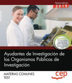 Ayudantes de Investigación de los Organismos Públicos de Investigación. Materias comunes. Test