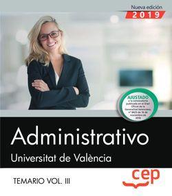 Administrativo. Universitat de València. Temario. Vol. III