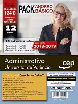 PACK AHORRO BASICO. Administrativo. Universitat de València (Incluye Temarios I, II y III, Test Vol I y II, Simulacros y Curso Básico on Line valorado en 99 €)