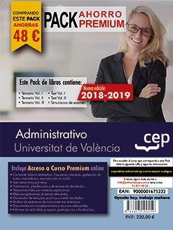 PACK AHORRO PREMIUM. Administrativo. Universitat de València (Incluye Temarios I, II y III, Test Vol I y II, Simulacros y Curso Premium on Line 6 meses)