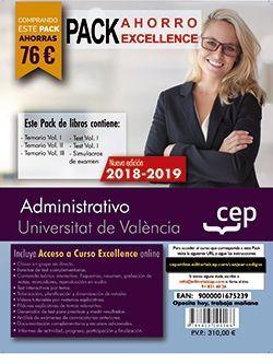 PACK AHORRO EXCELLENCE. Administrativo. Universitat de València (Incluye Temarios I, II y III, Test Vol I y II, Simulacros y Curso Excellence on Line 6 meses)