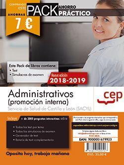 PACK AHORRO PRÁCTICO. Administrativo (promoción interna). Servicio de Salud de Castilla y León (SACYL).  (Contiene Test y Simulacros de examen y Acceso a 3000 preguntas interactivas en CEP Online.)