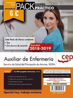 PACK AHORRO PRÁCTICO. Auxiliar de Enfermería del Servicio de Salud del Principado de Asturias. SESPA (Contiene Test y Simulacros de examen y Acceso a 3000 preguntas interactivas en CEP Online.)