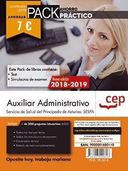 PACK AHORRO PRÁCTICO. Auxiliar Administrativo del Servicio de Salud del Principado de Asturias (SESPA). (Contiene Test y Simulacros de examen y Acceso a 3000 preguntas interactivas en CEP Online.)