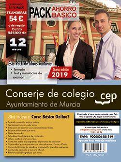 PACK AHORRO BASICO. Conserje de colegio. Ayuntamiento de Murcia (Incluye Temarios, Test y Simulacros y Curso Básico on Line valorado en 45€)