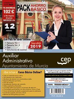 PACK AHORRO BÁSICO. Auxiliar Administrativo. Ayuntamiento de Murcia (incluye Temario Vol I y II, Test y Simulacros y Curso básico online valorado en 79€)