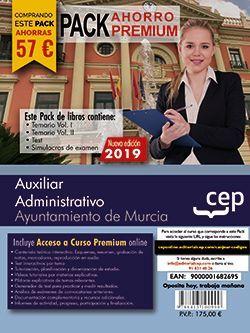 PACK AHORRO PREMIUM. Auxiliar Administrativo. Ayuntamiento de Murcia (incluye Temario Vol I y II, Test y Simulacros y Curso premium online 6 meses)