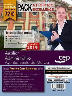 PACK AHORRO EXCELLENCE. Auxiliar Administrativo. Ayuntamiento de Murcia (incluye Temario Vol I y II, Test y Simulacros y Curso excellence online 6 meses)