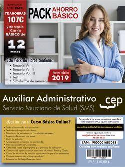 PACK AHORRO BÁSICO. Auxiliar Administrativo. Servicio Murciano de Salud (Incluye Temario Vol.I, II y III, Test y Simulacros y curso básico online)